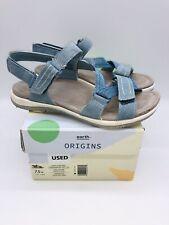 Earth Origins Women's Savoy Slade Sport Sandals Cendre Blue Suede US 7.5W *used*