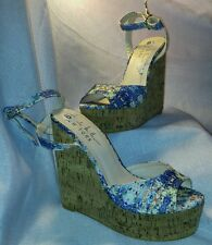Nwt Nicole Miller blue floral wedges  7 shoes