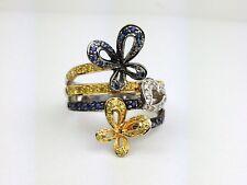 18K White Gold Yellow & Blue Sapphire Diamond Butterfly Fashion Ring