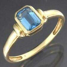 Low budget 9k Solid Yellow GOLD BLUE TOPAZ SOLITAIRE RING Sz N1/2