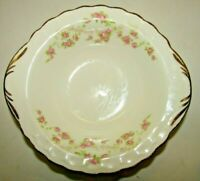 """Vintage Pope Gosser Florence Gold Trimmed Floral Lug Soup Cereal Bowl 6 1/2"""""""