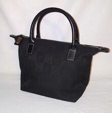 TEMPO  Leonello Borghi Black Signature LEATHER TRIM Double-Strap Satchel Handbag