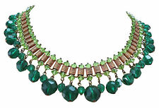 VINTAGE GLASS DANGLE FRINGE NECKLACE BOOK CHAIN FACETED EMERALD GREEN PERIDOT