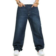 Mens Hip-Hop Baggy Jeans Skateboard Pants Denim Loose Streetwear Stonewashed