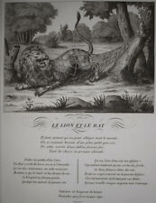Le Lion et le Rat JEAN DE LA FONTAINE Fable Gouget GRAVURE in4 1834