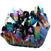 Rainbow Titanium Coated Drusy Quartz Geode Crystal Cluster Home Decor Specimen