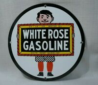 VINTAGE WHITE ROSE PORCELAIN SIGN GAS MOTOR OIL SERVICE STATION RARE PUMP PLATE