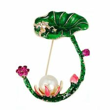 Lotus Flower Green Leaves  Shape Brooches Simulated Pearl Enamel Brooch For
