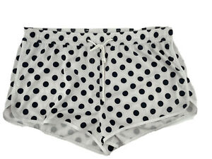 Venus Women's White Polka Dot Elastic Waist Drawstring Athletic Shorts Size 1X