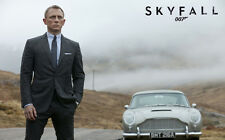 "JAMES BOND 007 SKYFALL ASTON MARTIN A2 CANVAS PRINT POSTER FRAMED 23.4"" x 15.4"""