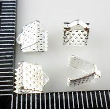 100pcs Metal Over Clip Tips Cord Crimp Ends Bead Caps 6mm, 8mm (Lead-free)