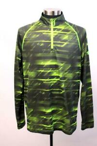 UNDER ARMOUR Neon Green NOVELTY 1/4 ZIP PULLOVER Heatgear Loose Fit Athletic L