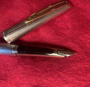 Vintage WATERMAN Sterling SILVER & 18K GOLD Fountain Pen 18k & Nib Mint Cond!