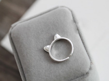 Hand-Made! 925 Sterling Silver Super Adorable Cat Kitten Ears Adjustable Ring!