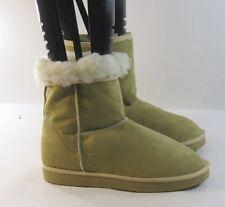 ladies Camel color flat comfortable faux fur suede Winter boots size   10