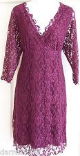 NEW~JOJO MAMAN BEBE~MATERNITY OCCASION DRESS 16 BURGUNDY WINE STRETCH LACE