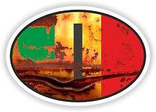 Drapeau Italie ovale avec I code de pays look vintage autocollant Old RUSTY Rétro pare-chocs