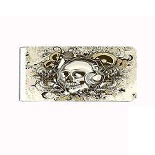 Metal Money Clip Cash Bills Credit Card Metal Holder Clip Skull Design-004