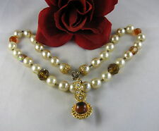 Faux Pearl Amber and Rhinestone Necklace FERAL  CAT RESCUE