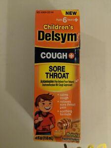 DELSYM Childrens Cough + Sore Throat Liquid Honey Flavor 4 fl oz EXP 06/21