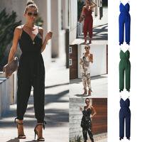 Womens Summer V-Neck Cotton Jumpsuit Wrap Side Split Rompers Clubwear Playsuit
