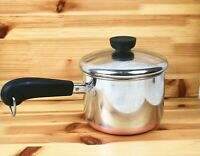 Vintage Revere Ware 1801 2.5 Qt Sauce Pan Lid Stainless Free Ship Copper Bottom
