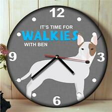 Personalised English Bull Terrier Kitchen Walkies Round Hanging Wall Clock Gift