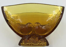 Crown Crystal Glass Co? Amber Dove Bird  Vase