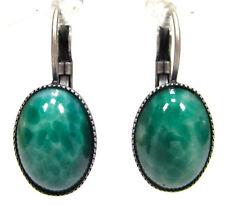 SoHo® Ohrhänger vintage jade grün altsilber 50er Jahre handgemachtes Glas