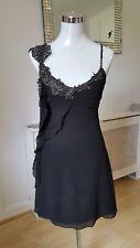 Karen Miller Black Embellished Beaded Silk Wedding Occasion Cruise Dress Size 10