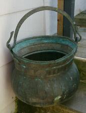 alter XXL Kupferkessel mit Henkel Hexenkessel Kupfertopf original Zustand