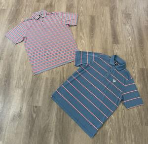 Lot Of 2 Footjoy FJ Golf Polo Shirt Men's Size Large Striped
