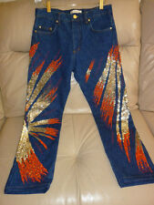 Auth.ROBERTO CAVALLI Embellished Boyfriend Jeans GOLD Sequences Coral Beads