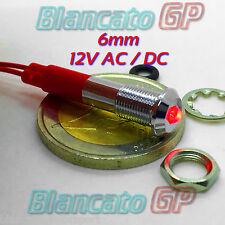 SPIA LED ROSSA 12V DC METALLO TONDA 6mm IP67 auto moto camper nautica indicator