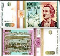 Romania 1000 Lei  1993 P 102 UNC LOT 5 PCS