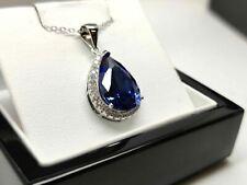 White gold finish blue sapphire pear cut created diamond pendant free post