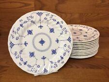 "12 Myott FINLANDIA Blue & White 10"" Dinner Plates - Excellent"