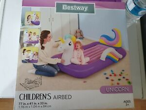 Bestway Unicorn CHILDRENS Kids Blow Up Bed AIR BED Travel Camping  BRAND NEW