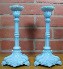 Antique Milkglass SERPENT SNAKE KOI DRAGON FISH Detailed Pair Blue Candlesticks