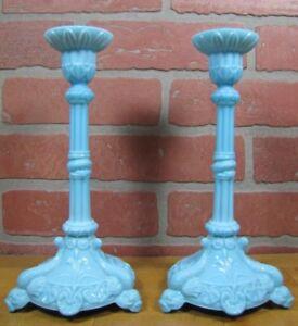 Antique Milkglass SERPENT SNAKE KOI DRAGON FISH Detailed Pair Blue Candlesticks