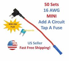 50x 16 AWG Gauge Car Auto Truck Add-A-Circuit MINI Fuse Tap Holder +15 Amp NEW