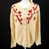 PEPALOVES Beaded Oversized Cardigan Sweater Cream Red S M L