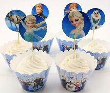 24pcs Frozen Elsa Anna Olaf 12 Wraps+12 Cupcake Cake Toppers Kids Birthday Party
