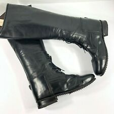 Women's Black Leather Equestrian Riding Tall Show Boots 2069 Size 6