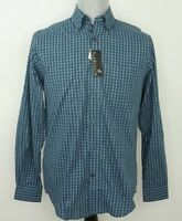 Van Heusen Blue Plaid Button Down Shirt Flex Non Iron Stretch $60 Mens Small NWT