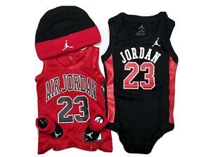 Air Jordan Baby Boys 4-pc GIFT SET: Bodysuits/Rompers, Hat & Booties. 0-6Months.
