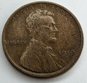 1910 - S - US Lincoln Wheat Cent - Key Date (K8)