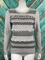 Talbots Womens Pullover Sweater Small Gray Ruffles Lambswool Blend Long Sleeves