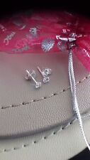 Girls Ladies Womens Real Silver Small 3mm Clear Crystal Stud Earrings Gift Bag
