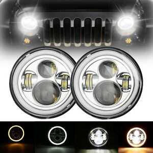 """2X 60W 7"""" LED Round Headlight DRL With White/Yellow Angel Eyes For Jeep Wrangler"""
